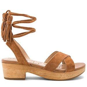 Sam Edelman Tan Suede Ankle Wrap Sandal Size 8